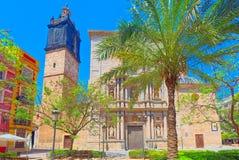 Square of Carmen Plaza del Carmen, Placa del Carme and Churh o. F the  Parish of the Holy Cross in Valencia. Spain Stock Image