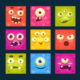 Square Cartoon Monster Faces Vector Set. Royalty Free Stock Photography