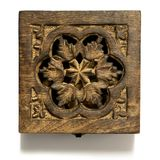 Square carved wooden box - with flower design, rough texture - isolated on white stock image