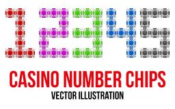 Square casino chip icons in the form of numbers. Royalty Free Stock Image