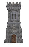 Square castle tower - 3D render. Square castle tower isolated in white background - 3D render Royalty Free Stock Images
