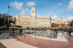 Square of Catalonia Placa de Catalunya in Barcelona, Spain Stock Photography