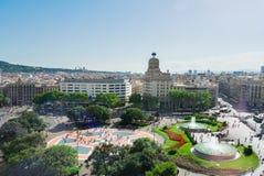 Square Catalunia, Spain. Plaza Catalunia famous square of Barcelona, Spain royalty free stock photography