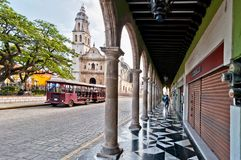 Square and Cathedral in Campeche, Mexico Stock Photos