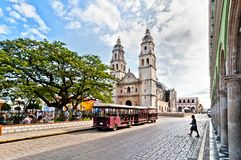 Square and Cathedral in Campeche, Mexico Stock Images