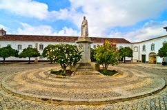 Square Cathedral of Faro (Portugal). Square Cathedral of Faro in Portugal with the sculpture of Bishop Francisco Gomez in the foreground Stock Photography