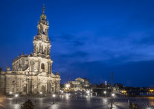 Square with Cathedral of the Holy Trinity in Dresden Royalty Free Stock Photos