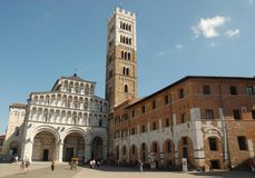 Square with cathedral in Lucca Royalty Free Stock Image