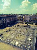 View of the square from the Cathedral's terraces in Milan. stock image