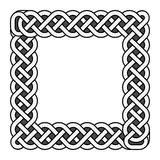 Square celtic knots vector medieval frame in black and white Stock Image