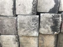 Square cement blocks left outdoor royalty free stock photo
