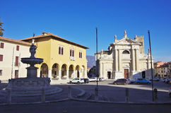 Square of Ceneda and Cathedral. VITTORIO VENETO,IT - JANUARY 07, 2017 - Square `Giovanni Paolo I` in the historic district of Ceneda. Vittorio Veneto was founded royalty free stock images