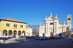 Square of Ceneda and Cathedral. VITTORIO VENETO,IT - JANUARY 07, 2017 - Square `Giovanni Paolo I` in the historic district of Ceneda. Vittorio Veneto was founded royalty free stock photos