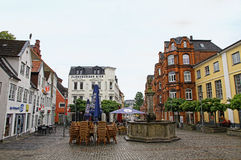 Square in center of Flensburg city, Germany Royalty Free Stock Photography