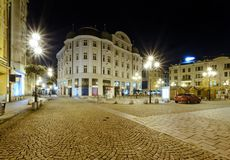 Square in the center of Ostrava, Czech republic. Night foto stock images