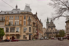 Square in centre of old Lviv Stock Images