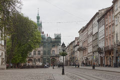 Square in centre of old Lviv Royalty Free Stock Images