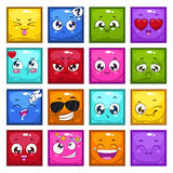 Square characters with different emotions Stock Photo