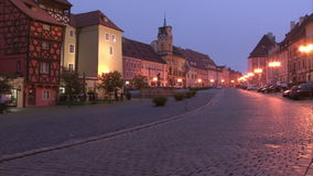 Square in Cheb during dusk stock footage