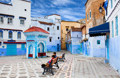 Square of Chefchaouen Medina, Morocco Royalty Free Stock Photos