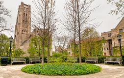 Square of Chicago University campus with view of Rockefeller Memorial Chapel, USA Royalty Free Stock Photos