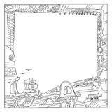 Square childish style ink drawing outdoor frame Royalty Free Stock Photography