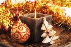 Square christmas candle Royalty Free Stock Image