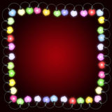 Square christmas card with lights Royalty Free Stock Photo