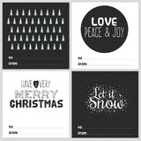 Square Christmas and New Year greeting cards Royalty Free Stock Images