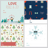Square Christmas and New Year greeting cards. Set of square greeting cards with Christmas and New Year Calligraphic And Typographic Background. Greeting stylish Stock Images