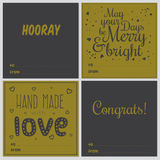 Square Christmas and New Year greeting cards. Set of square greeting cards with Christmas and New Year Calligraphic And Typographic Background. Greeting stylish Stock Photo