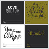 Square Christmas and New Year greeting cards. Set of square greeting cards with Christmas and New Year Calligraphic And Typographic Background. Greeting stylish Royalty Free Stock Photography