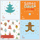 Square Christmas and New Year greeting cards Royalty Free Stock Photos