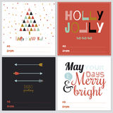 Square Christmas and New Year greeting cards. Set of happy new 2016 year greeting card with Christmas and winter calligraphic and typographic wishes Royalty Free Stock Image