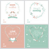 Square Christmas and New Year greeting cards Stock Images