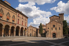Square and church in Bologna Stock Photos