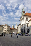 Square with churches. A square in the town of ljubljana, slovenia Stock Photography