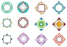 Square and circle design set Stock Photography