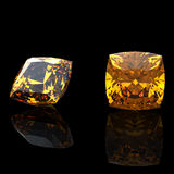 Square. Citrine. Collections of jewelry gems Stock Photos
