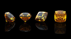 Square. Citrine. Collections of jewelry gems Stock Photo