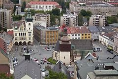 Square of the city Nachod stock photos
