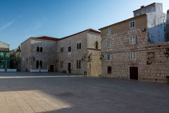 Square at city Pag (Croatia) Stock Photo