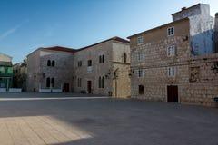 Square at city Pag (Croatia) stock photo