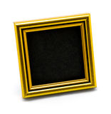 Square classic empty gold photo frame isolated on white Stock Photography
