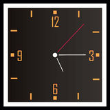 Square clock. Black isolated clock with the white arrows and orange numbers Stock Image