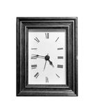 Square clock. A black and white image of a clock in a frame Stock Photo