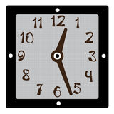 Square clock  on white Royalty Free Stock Photo