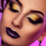 Square close up color photo of woman with make up Royalty Free Stock Image