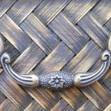 Square Close Up Texture Rattan Weave with Handle Stock Photography