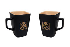 Square Coffee Cup Left and Right Isolated Royalty Free Stock Photo